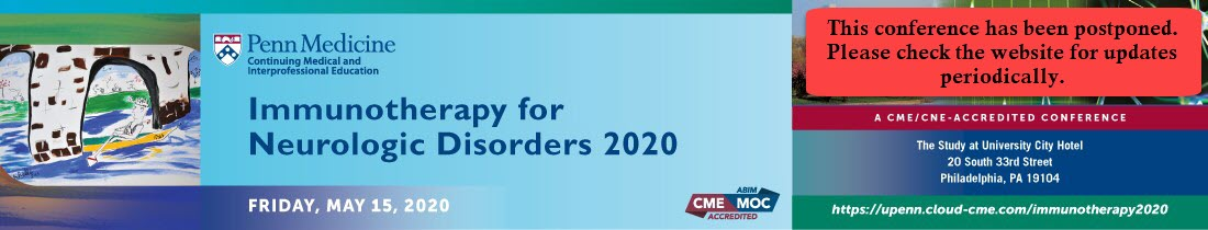 Immunotherapy for Neurologic Disorders 2020 Banner