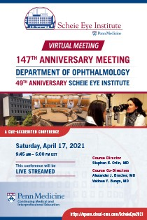 147th Anniversary Meeting 49th Anniversary Scheie Eye Institute Banner